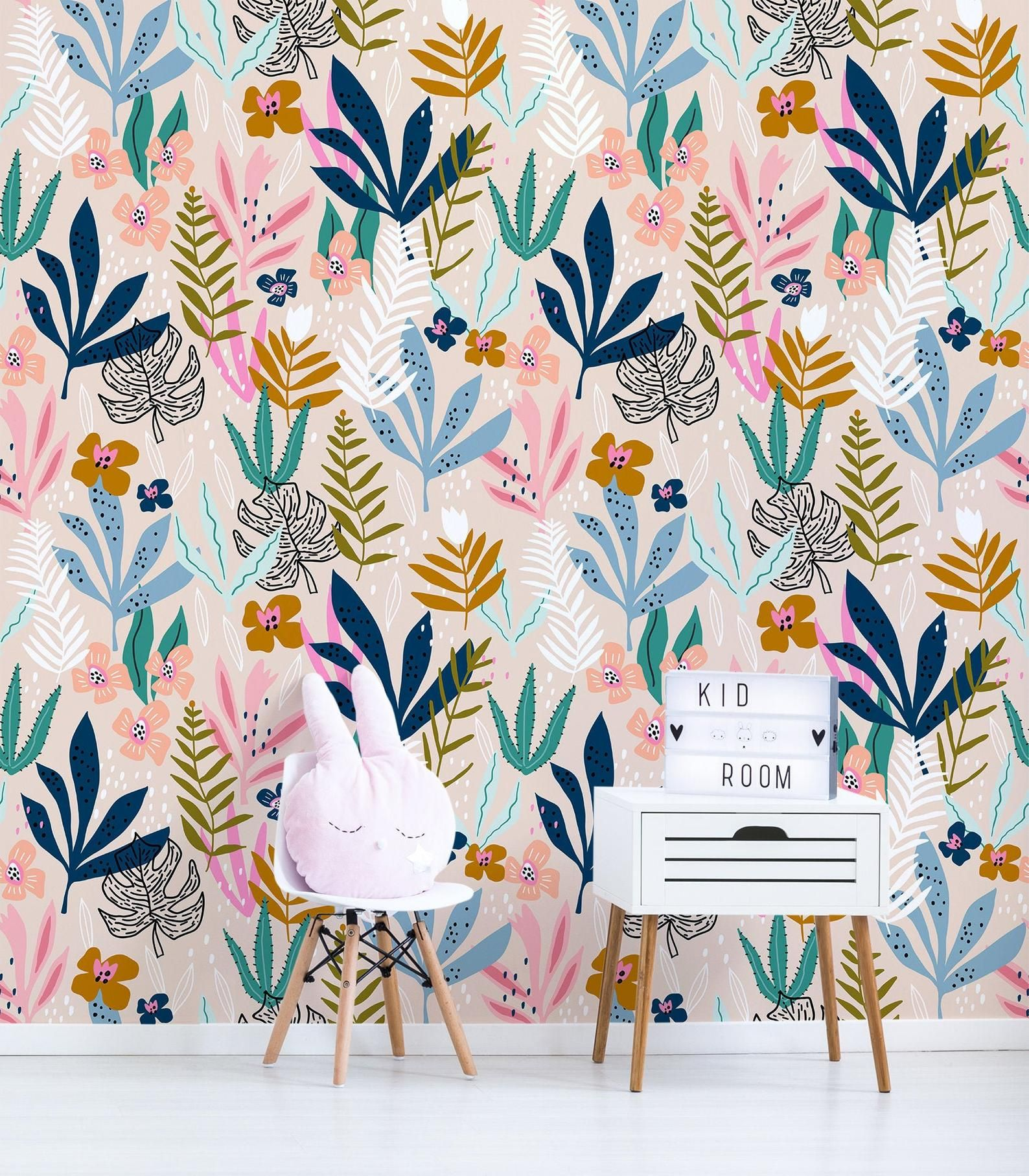 Creative Floral Wall Mural For Nursery Peel And Stick Wall Etsy Removable Wallpaper Stick On Wallpaper Wall Murals