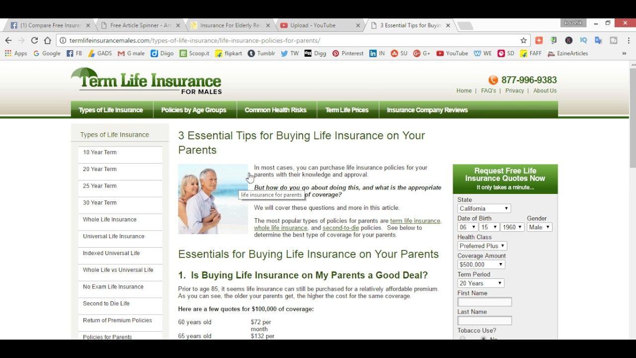 Buy life insurance for elderly relative finance advice