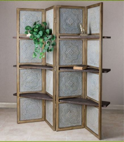 Room Divider with Shelves Metal Privacy Floor Screen Dividers for Rooms Rustic #Uttermost #VintageRusticFarmhouseCountryCottage