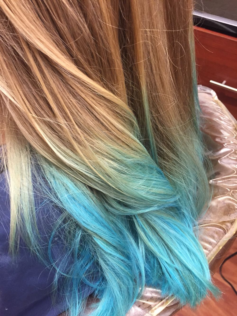 Blue And Blonde Ombre Mermaid Hair Today Lightened Ends And Applied Neon Blue Pravana With A Little Clear Obsessed With This Mermaid Hair Teal Hair Hair
