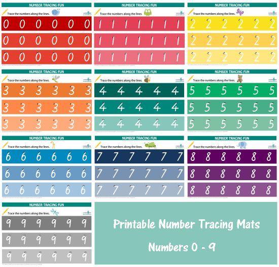Printable Number Tracing Mats   Printable numbers, Rainbow theme and ...