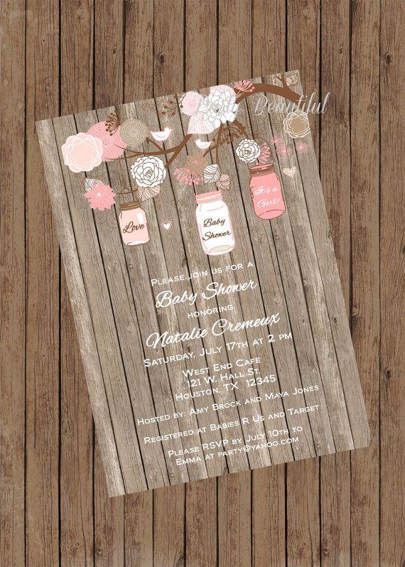 girl baby shower invitation-rustic mason jar tree, pink on etsy, Baby shower invitations