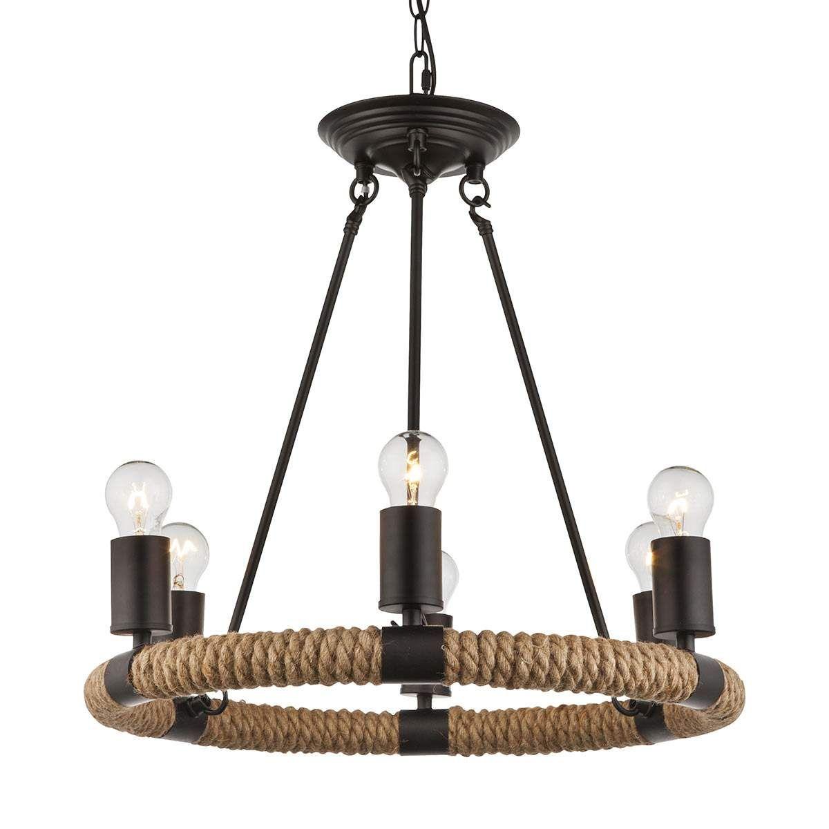 Landhaus Stil LED Pendel Leuchte Metall Käfig Decken Hänge Lampe schwarz 3-flg