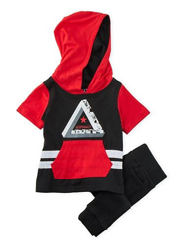 Baby Boys Color Block Hoodie and Joggers Set,BLACK
