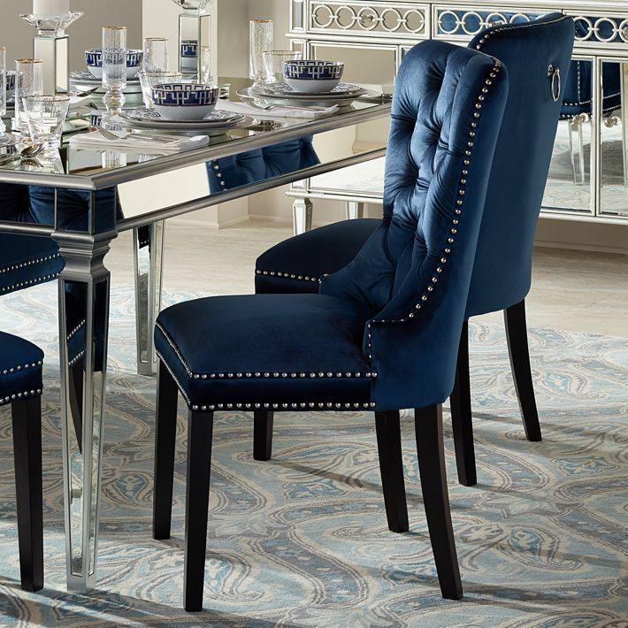 Best Euphoria Tufted Blue Velvet Dining Chair 1P330 Lamps 400 x 300