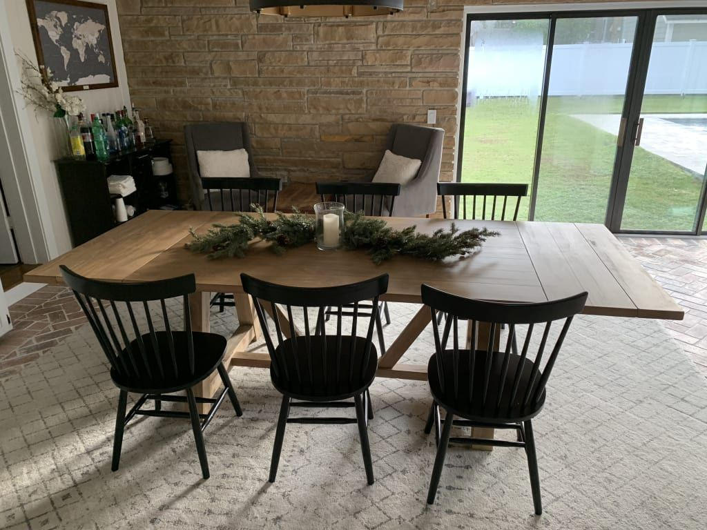 Wood Leona Farmhouse Extension Dining Table Natural Large