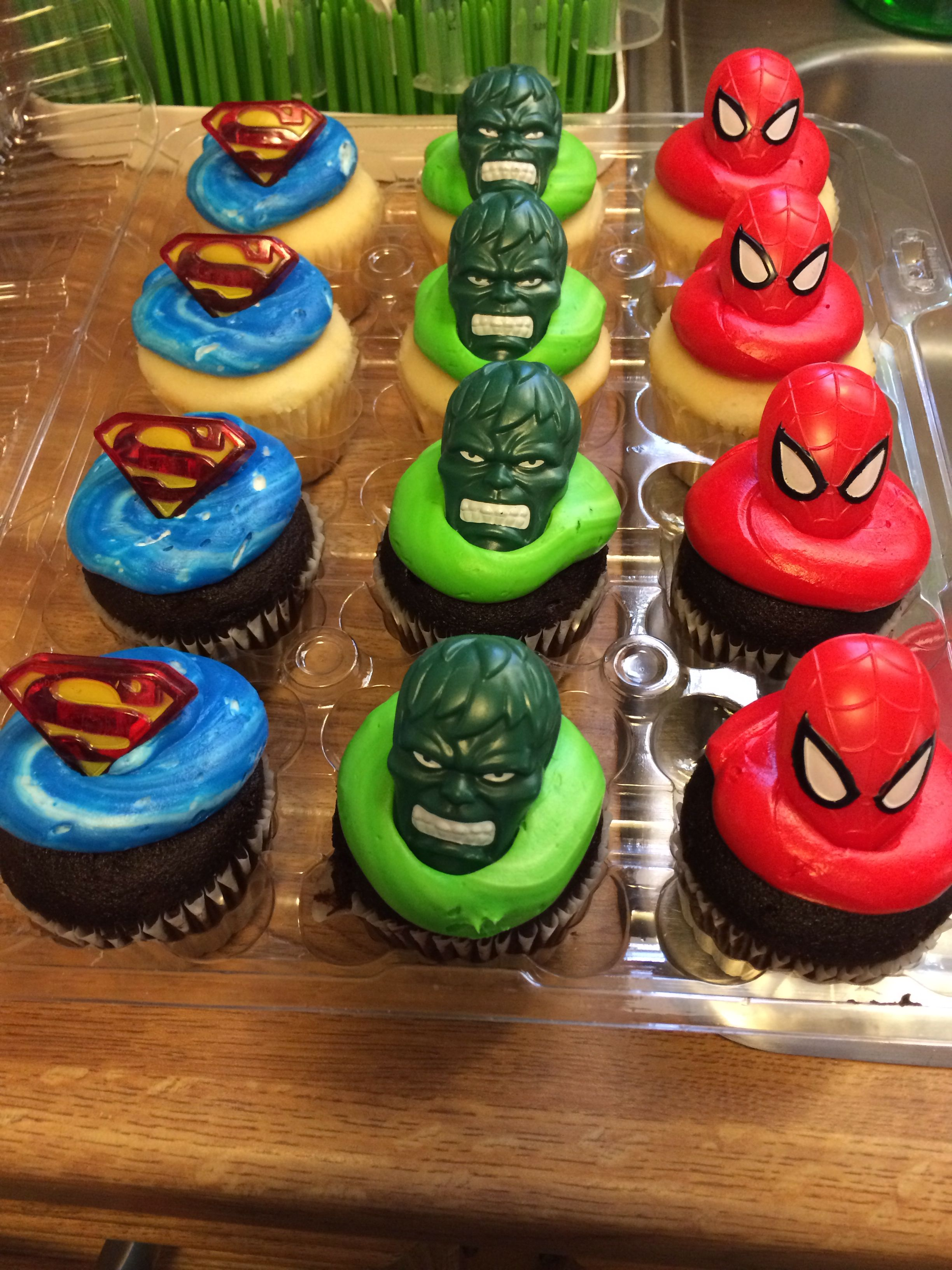 Super Superhero Rings On Store Bought Cupcakes Tom Thumb For Cheap Funny Birthday Cards Online Elaedamsfinfo
