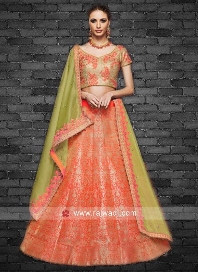 62946b6290 Silk and Brocade Lehenga Choli with Dupatta. #rajwadi #lehengacholi  #weddingseason #weddingdress #embroidery #lehenga #ethnicwear #bridalwear  #designerwear ...