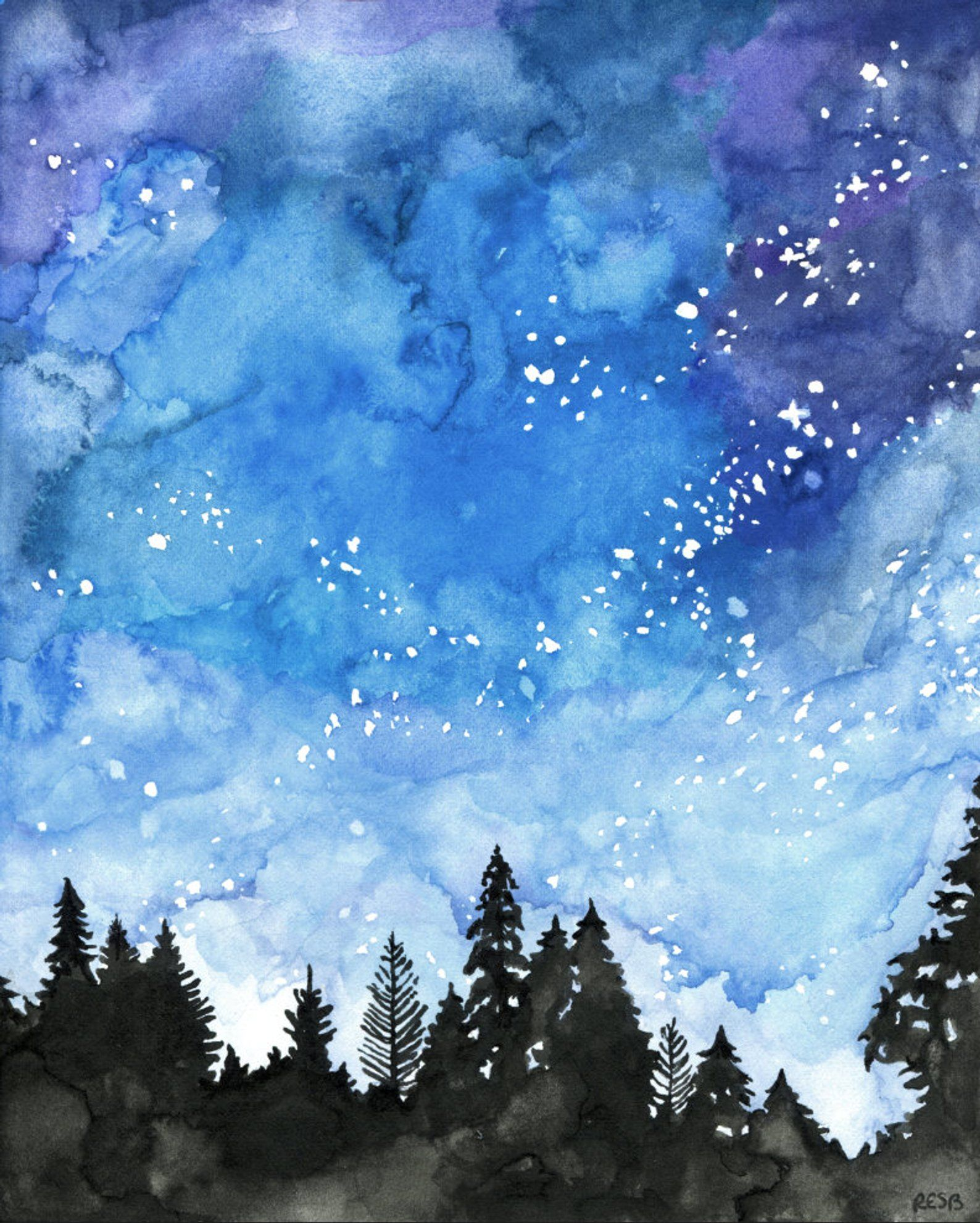 Watercolor Painting Galaxy Painting Night Sky Galaxy Print Etsy Watercolor Paintings For Beginners Galaxy Painting Watercolor Night Sky