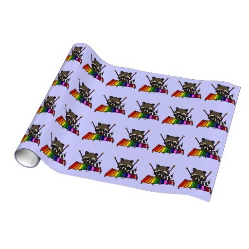Funny Raccoon Playing Colorful Xylophone Gift Wrap Paper #raccoon #giftwrap #funny #xylophone #music And www.zazzle.com/tickleyourfunnybone*