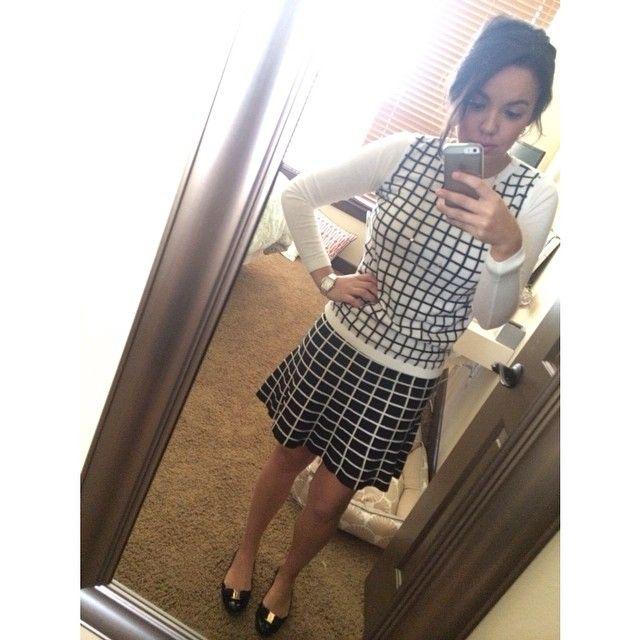 Windowpane sweater and skirt