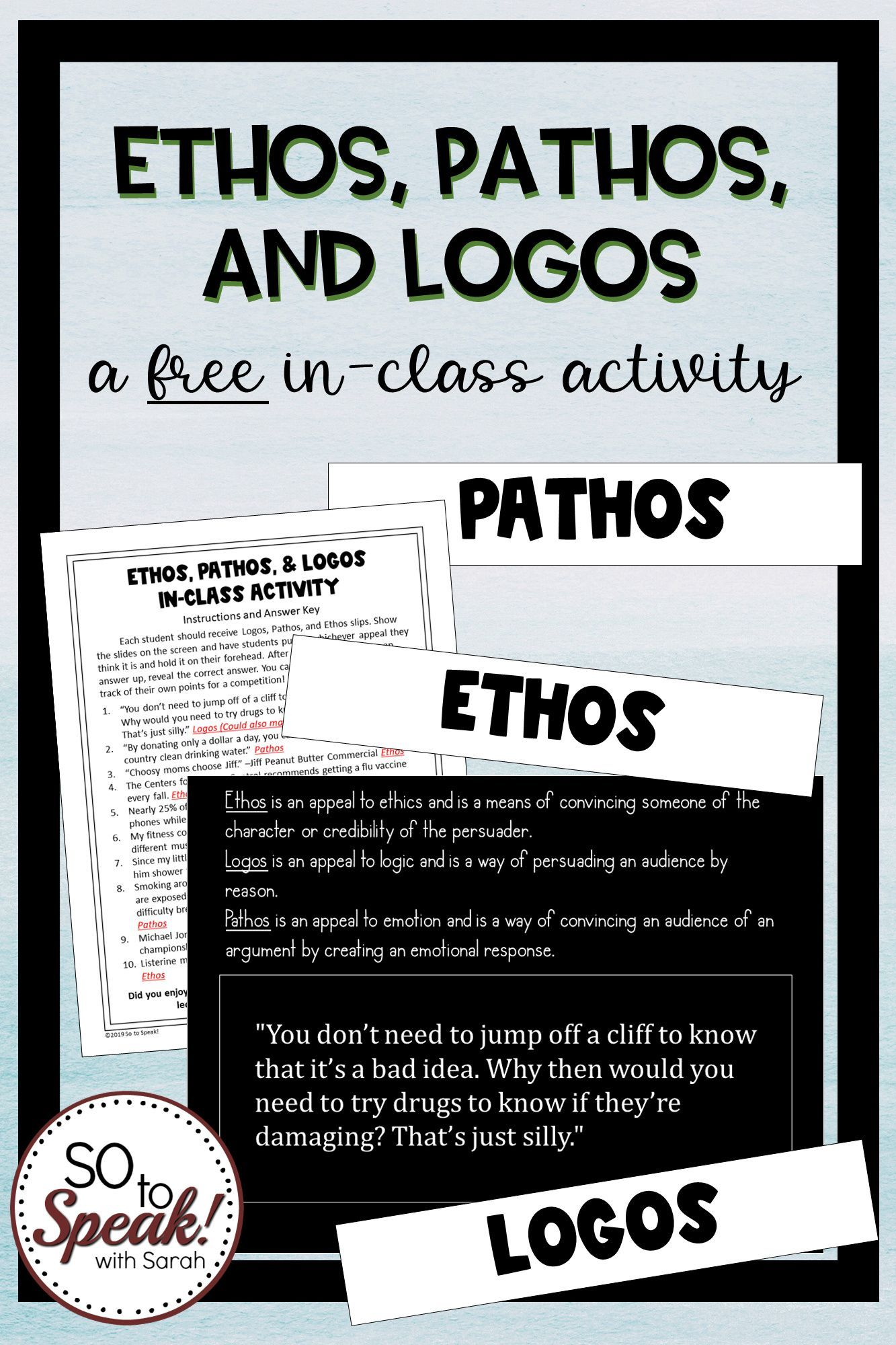 Ethos Pathos And Logos In Class Activity Freebie Class Activities Ethos Pathos Logos Rhetoric