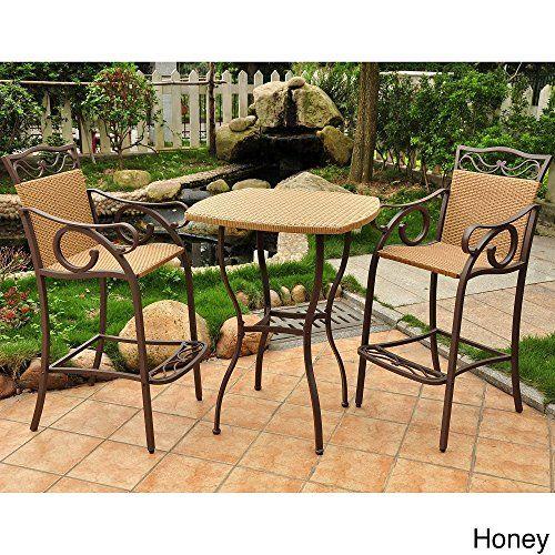 International Caravan Valencia Resin Wicker Steel 3piece Barheight Bistro Set Honey See This Great Patio Furniture Small Patio Furniture Patio Furnishings
