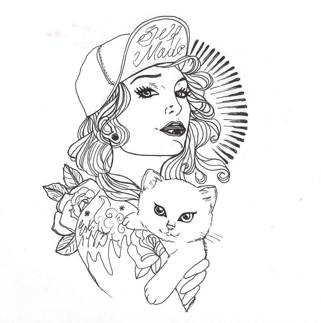 Girls with Tattoos Drawing | tattoo girl cat1 by adler666 ...
