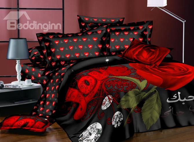Red Roses and Shining Diamond Printing Polyester 4-Piece Duvet Cover