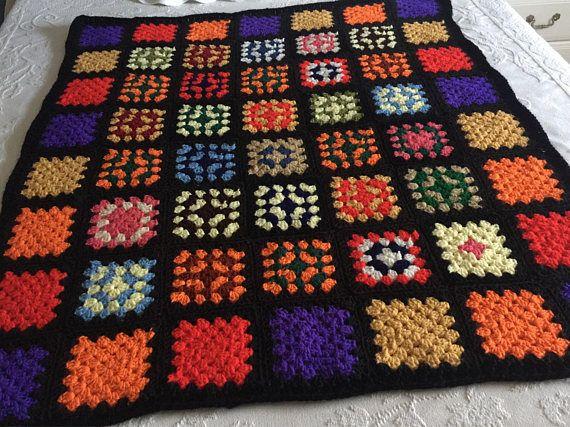 Hand Crochet Afghan Vintage Retro Bed Coverlet Black Red