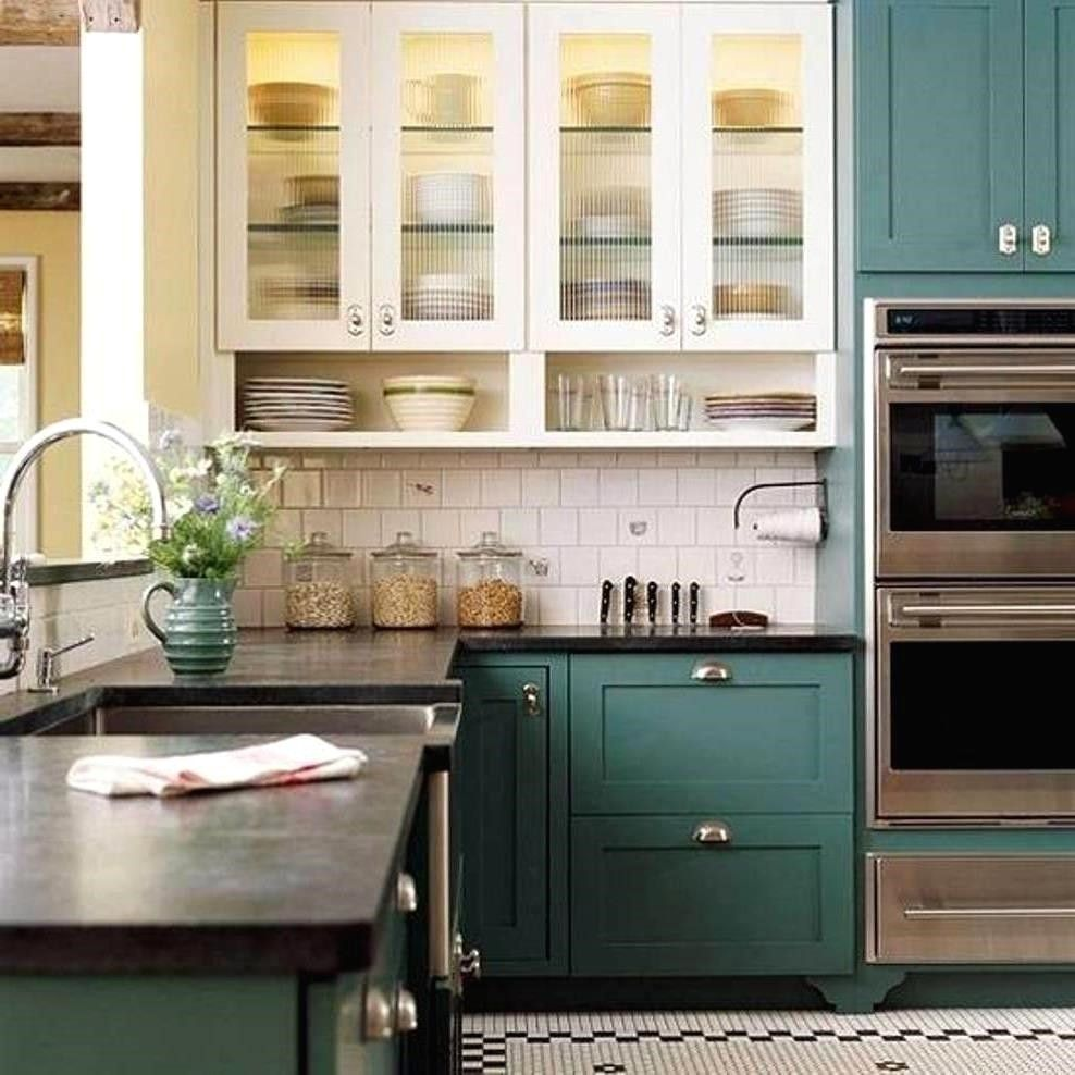 Painted Kitchen Cabinets Two Different Colors Modern Wood Interior