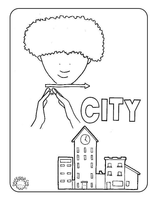 ASL coloring page for the sign \'city\' #DeafEdHub | Discovering ASL ...