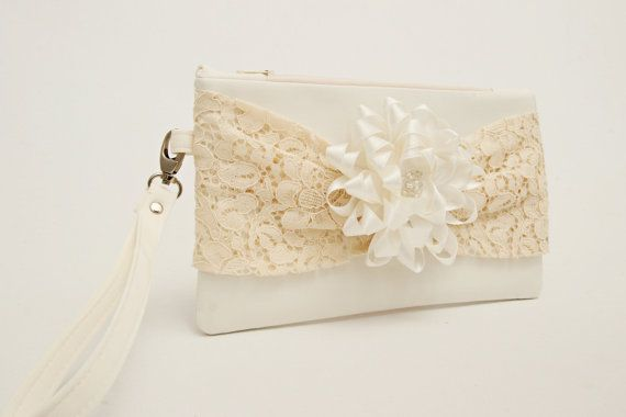 OPENING SALE Ivory  wedding clutch  with creme lace by WaDaWaDa