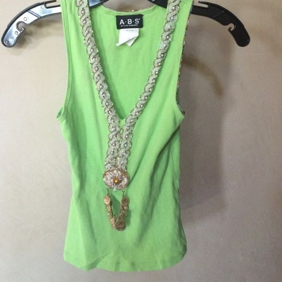 ABS by Allen Swartz Beaded Tank ABS by Allen Swartz dreaded lime green v-neck tank with white beads and gold medal  .100% cotton, some beads are missing, otherwise good condition. ABS Allen Schwartz Tops Tank Tops