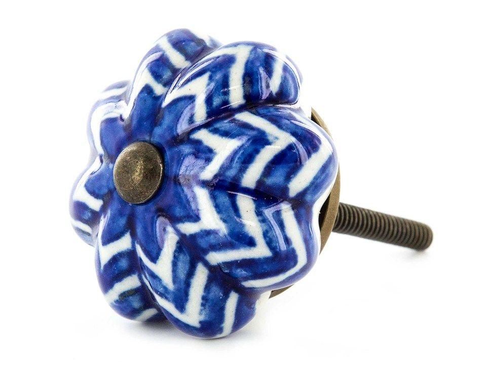 Blue & White Zig-Zag Ceramic Scallop Knob  TV stand knob replacements