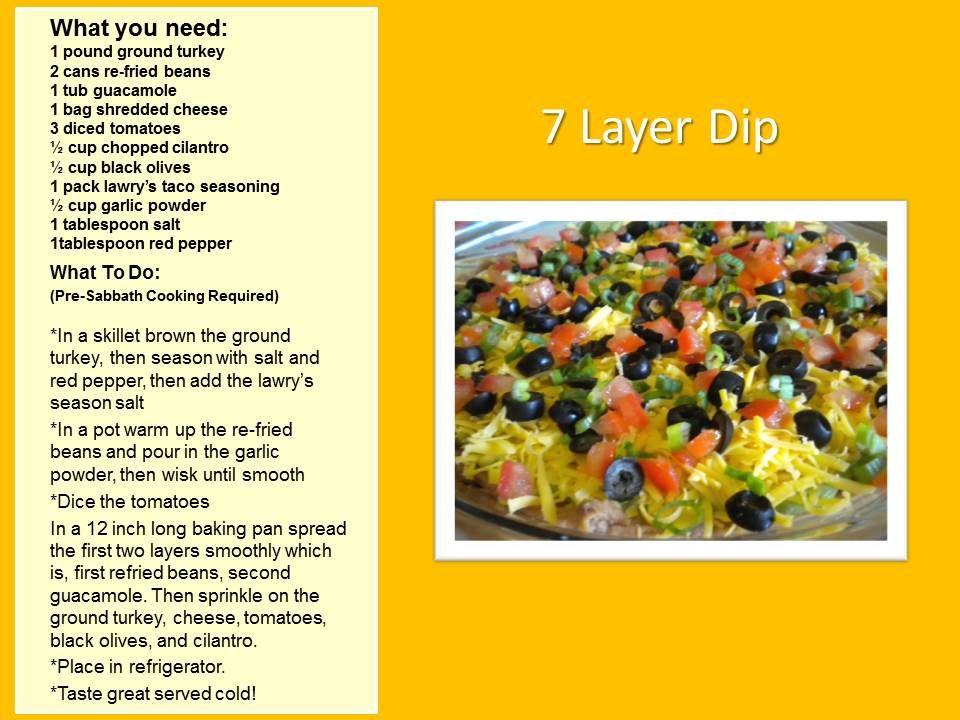 7 layer dip shabbath recipes