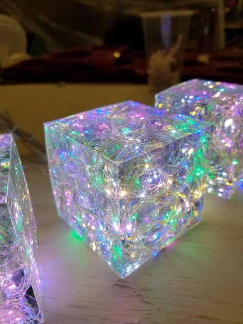 Hand made Epoxy Resin Lamp + Free Paperweight