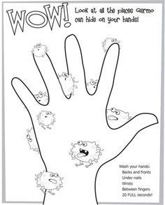 Hand Washing Germ Coloring Pages Germs preschool, Hand