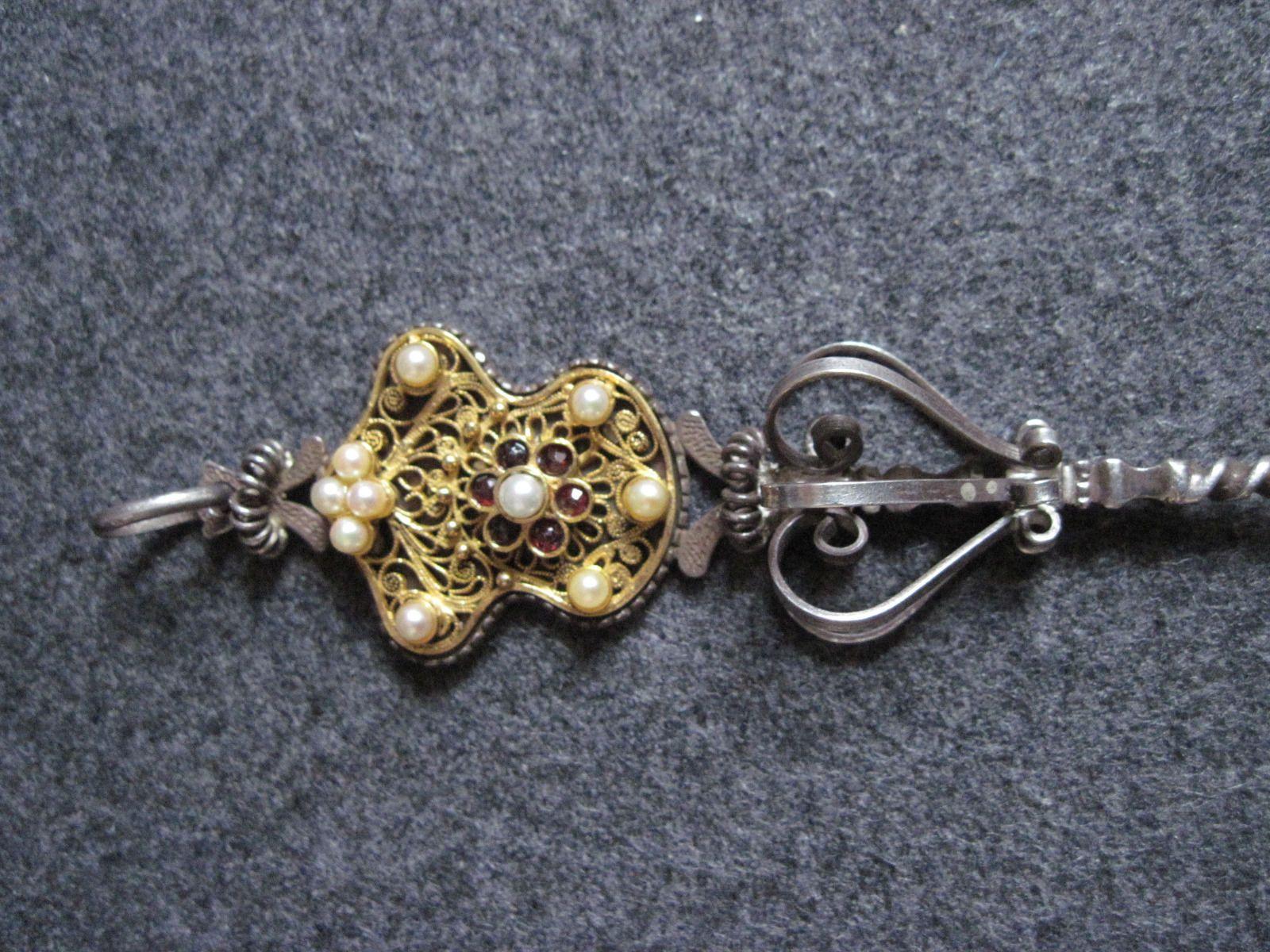 Miederstecker und Miederkette silber mit gold Perlen und Granten ...