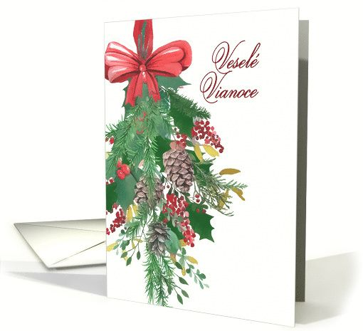 slovak merry christmas watercolor wreath and ribbon card merry christmas