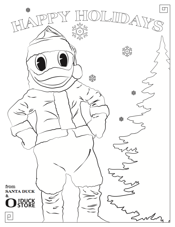 A santa duck coloring page perfect for the kids oregon for Oregon ducks coloring page