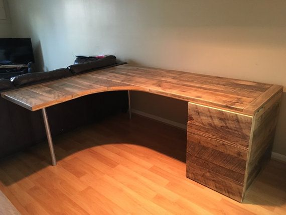 We Used Salvaged Hemlock And Pine Boards To Build This Custom Made Curved Desk And Although This Desk Has Sold Office Desk Designs Desk Design Diy Corner Desk