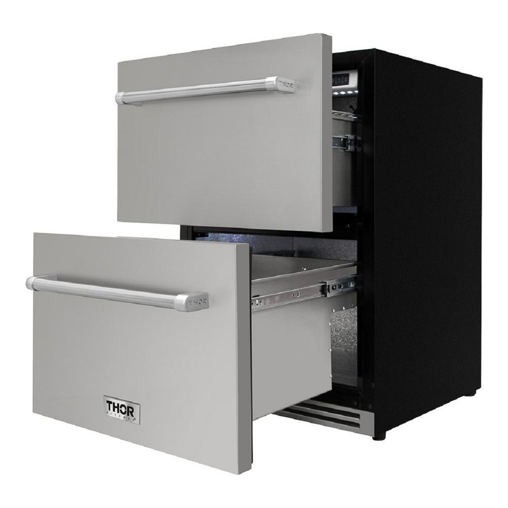 Thor Kitchen 24 In 5 4 Cu Ft Built In Indoor Outdoor Undercounter Double Drawer Refrigerator In Stainless Steel Trf2401u Outdoor Refrigerator Built In Refrigerator Stainless Steel Cabinets