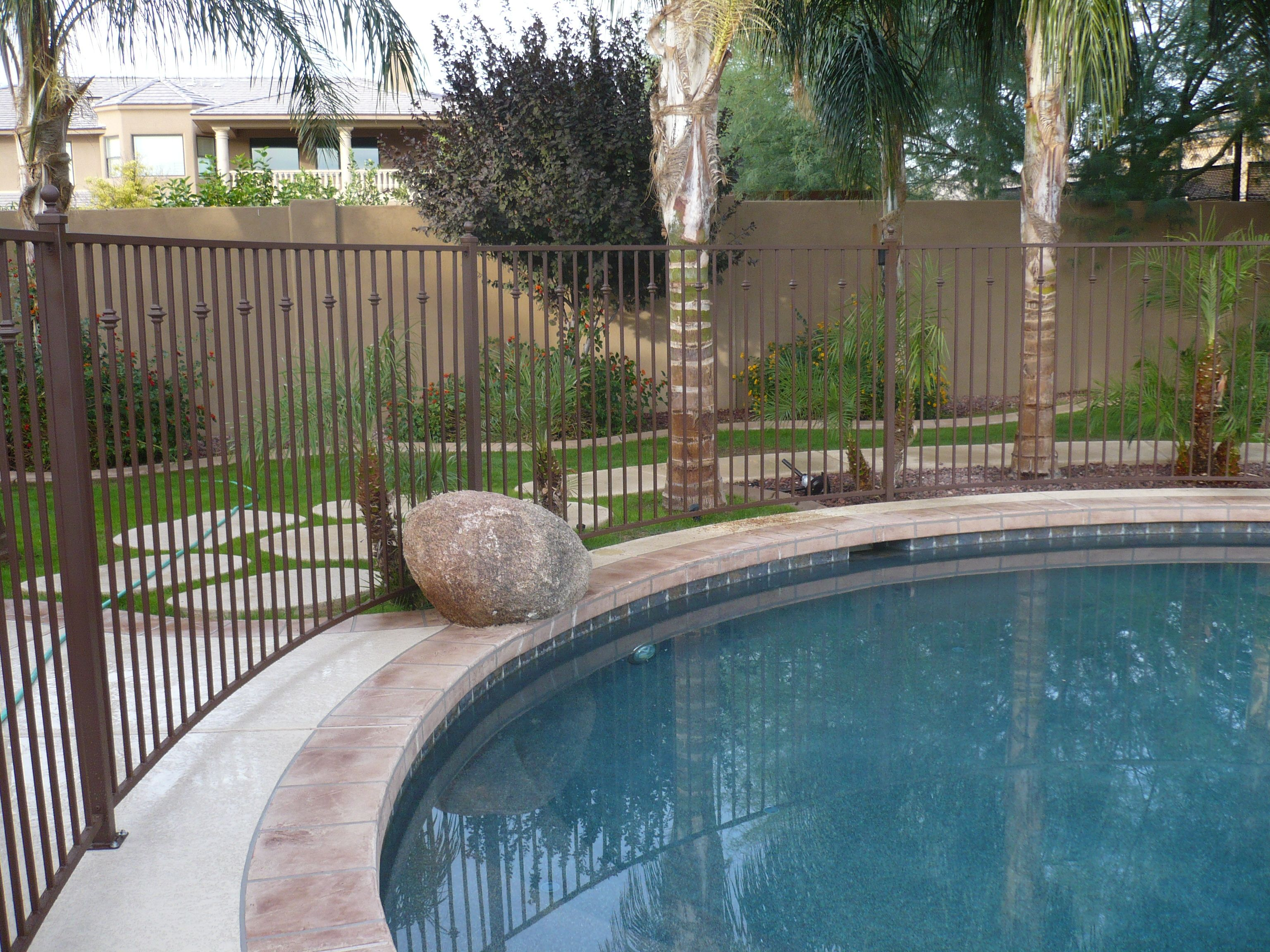 Brown Painted Metal Fence Pool Fence Fence Around Pool Residential Pool