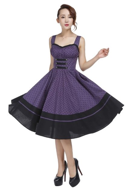 Plus Size Black and Purple Polka Dot Flirty Rockabilly Dress ...