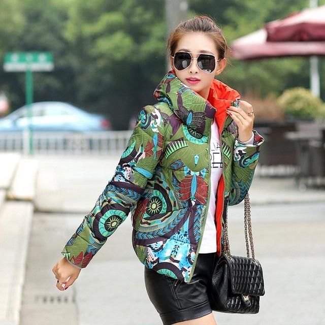 New Winter Coat Woman Print Floral Plus Size Slim Jackets Outwear Short Wadded Parka Mujer TB1083