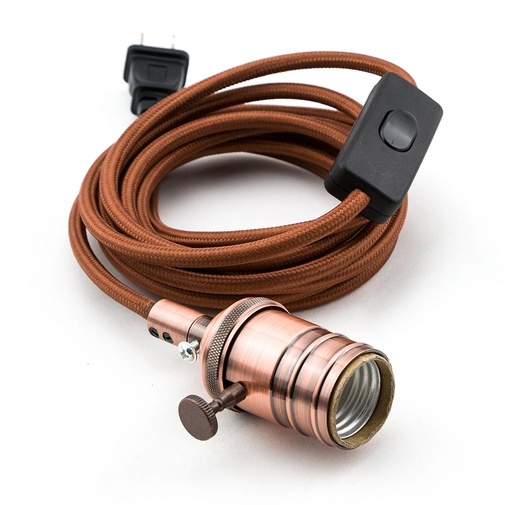 Vintage Copper Pendant Light Lamp Cord W Antique Finish 11ft