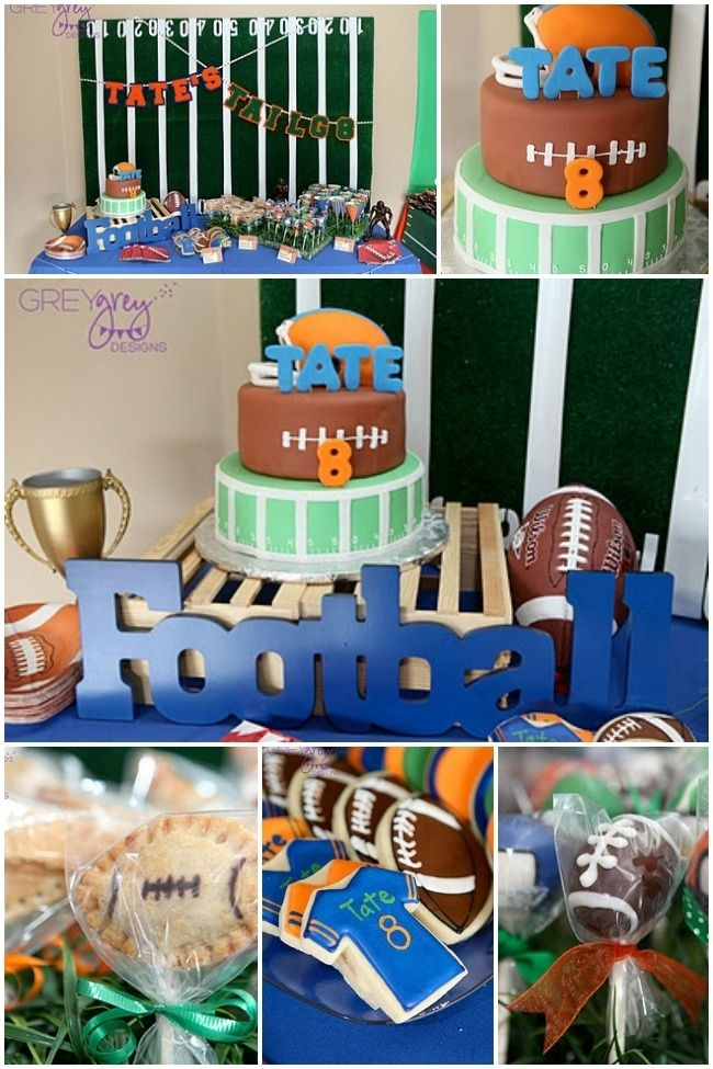 Football Themed Dessert Table For A Boys 8th Birthday Sports Theme Boy Parties