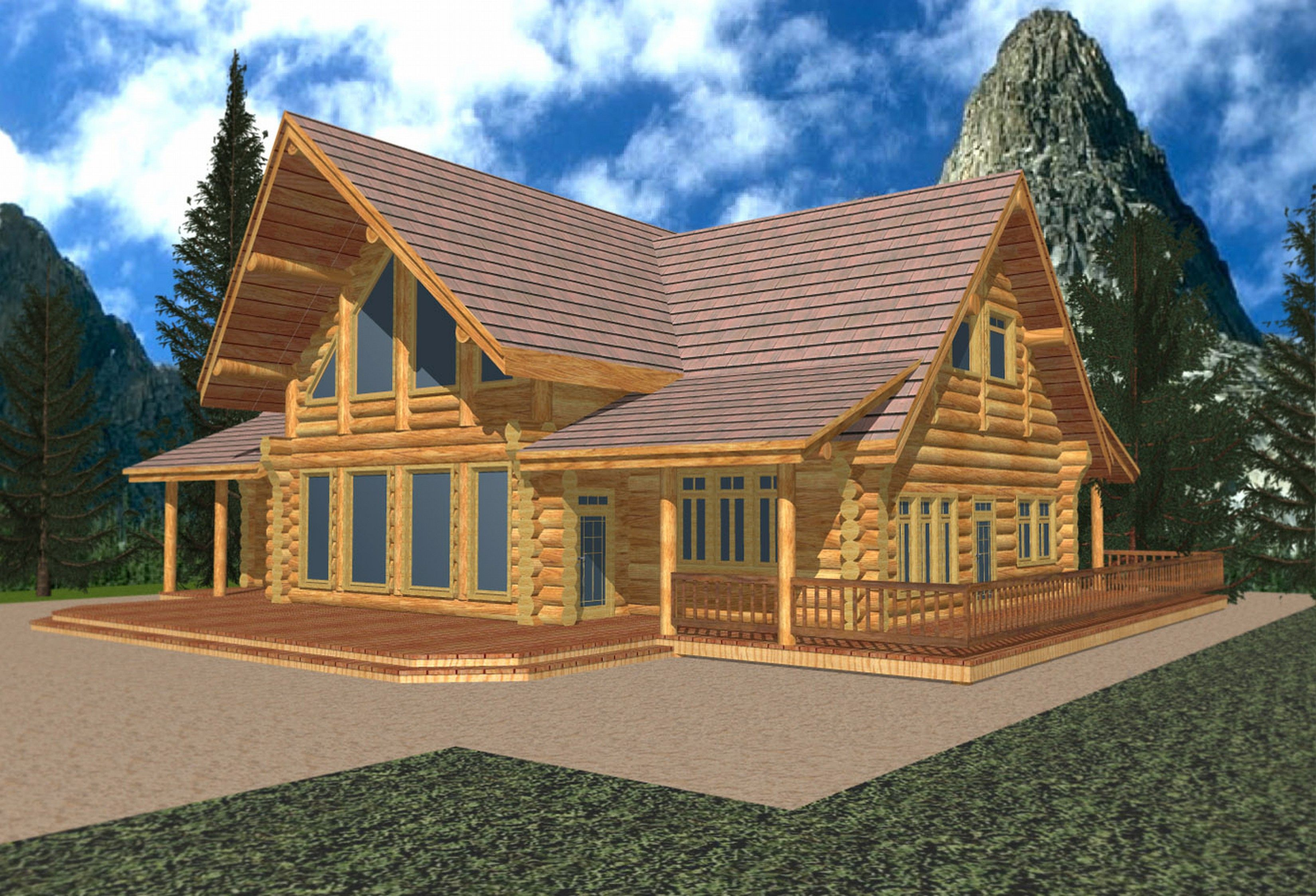 Mountain Homes Single Story 2680 Sq Ft Classic Whistler Log Design Coast Mountain Log Homes Log Cabin House Plans Log Home Plans Cabin House Plans