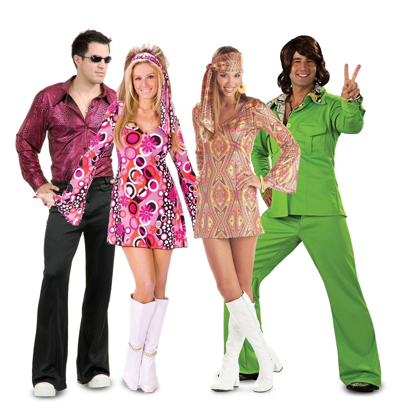 Ladies Groovy 60/'s 70/'s Hippy Dress Fancy Dress Carnival Costume Outfit UK 8-18