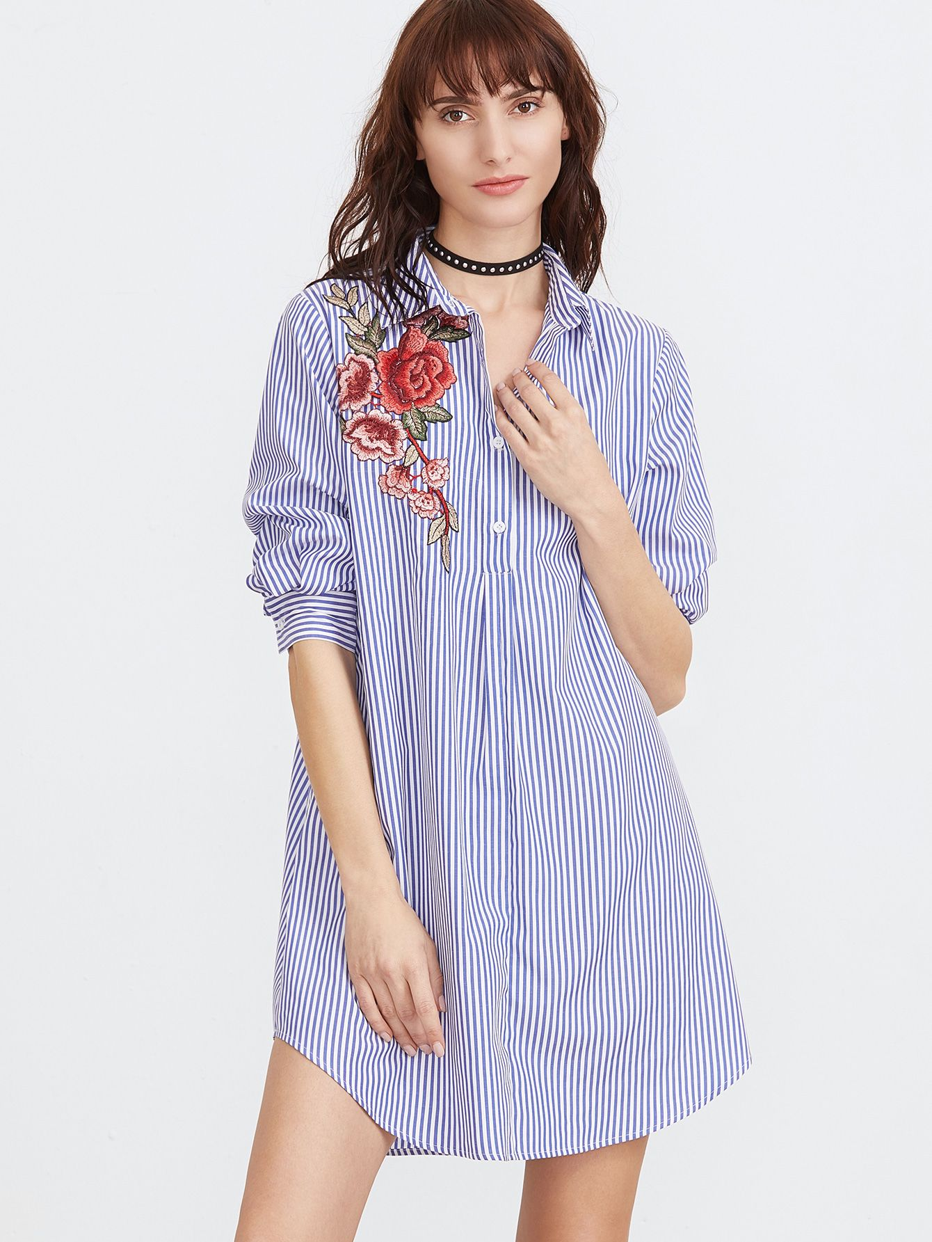 ff0ec6be19 Blue And White Striped Embroidered Rose Applique Shirt Dress -SheIn( Sheinside)