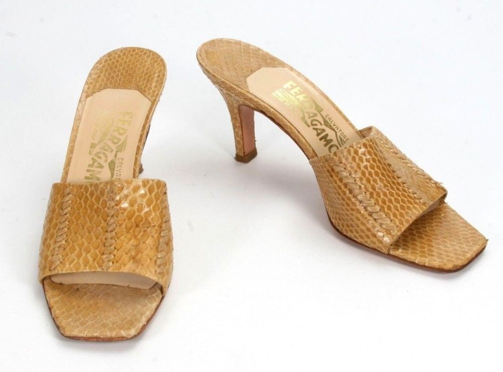 11f9793983f Salvatore Ferragamo Tan Snakeskin Slide Sandals Heels Size 7.5 AA Narrow   SalvatoreFerragamo  SlideSandals  Any