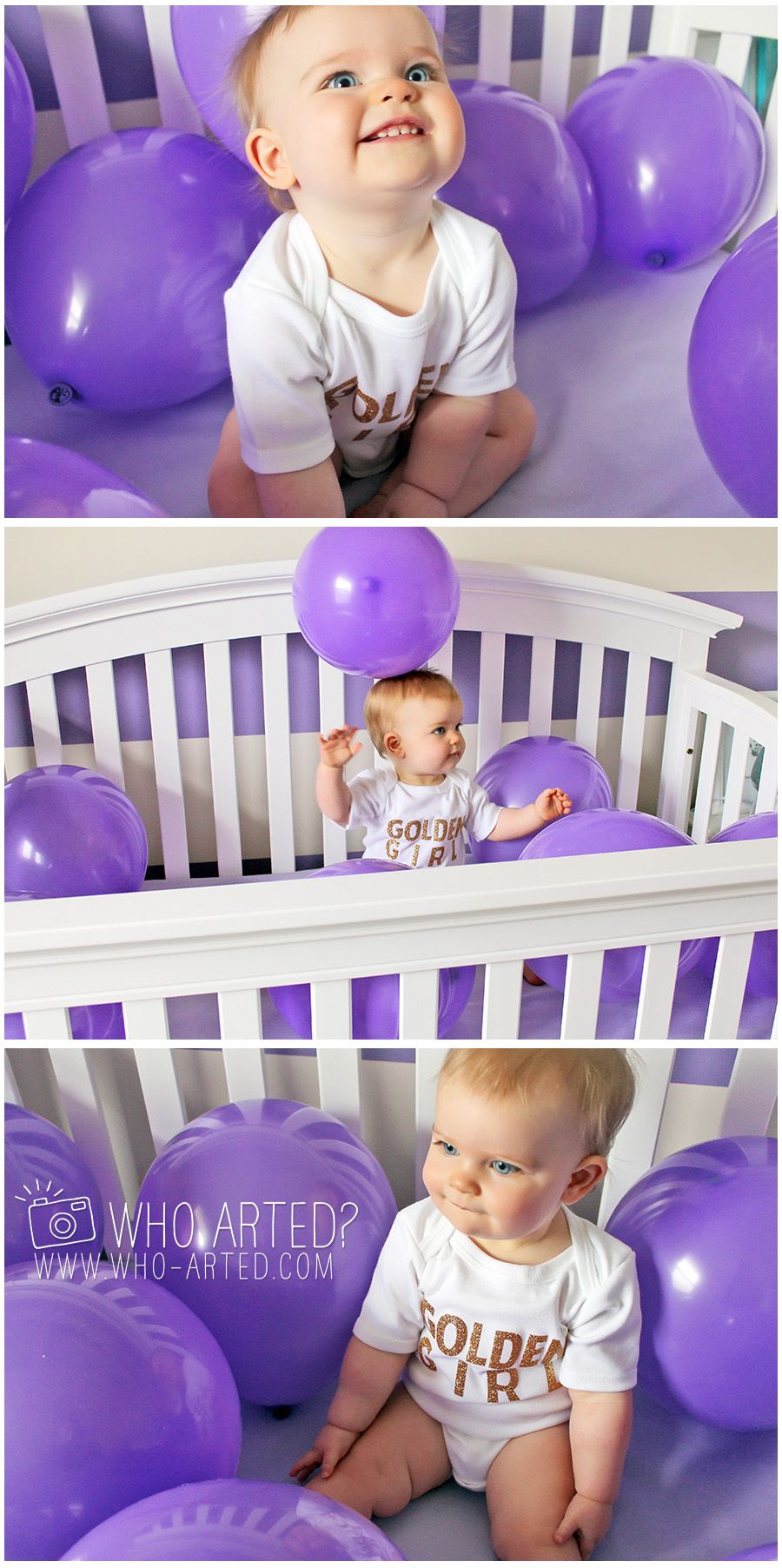 First Birthday Photo Idea. Balloons in the crib on the