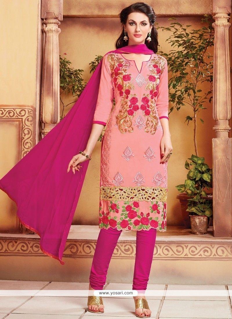 c987f61e4d Beautiful Pink Cotton Churidar Designer Suit in 2019 | SALWAR KAMEEZ ...