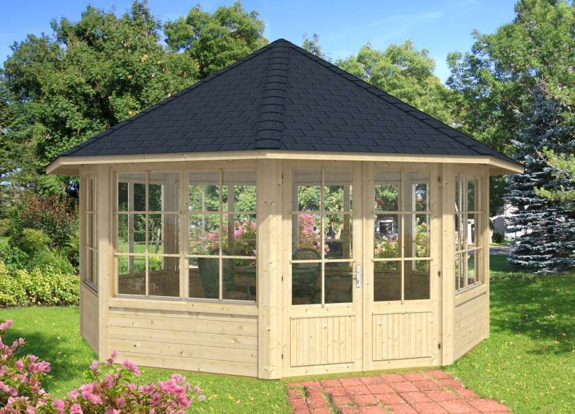 Gartenpavillon Modell Baltrum Mit Sieben Fenstern Garten Pavillon Gartenhaus Farbe Pavillon