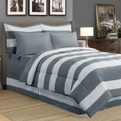 Photo of Breakwater Bay Kimberly Reversible Comforter Set Size: King Comforter + 8 Additional Pieces, Colour: Grey/White