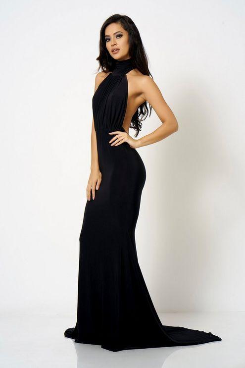 9320e197d8e Womens   Black Backless Halter Neck Fishtail Maxi Dress by Club L London -  Black