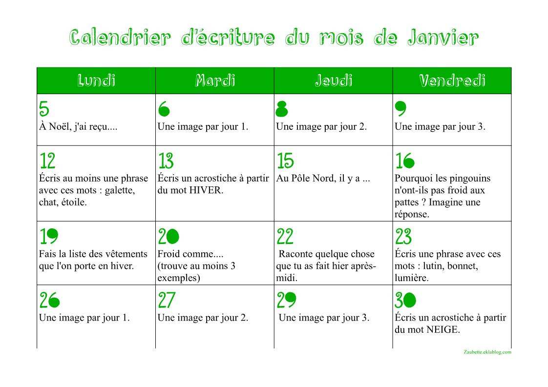 Calendrier d'écriture de janvier 2015 | Écriture ce1, Ce1, Sujets