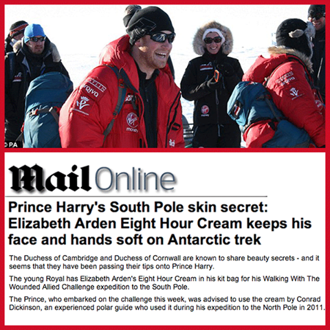 What do you get when you mix our fabulous Elizabeth Arden Eight Hour Cream, with a #Royal?   Daily Mail dishes on #PrinceHarry's soft skin secret as he braves his upcoming Antartic trek -> http://dailym.ai/1gFb7Wl #RedDoorSpa #ElizabethArden