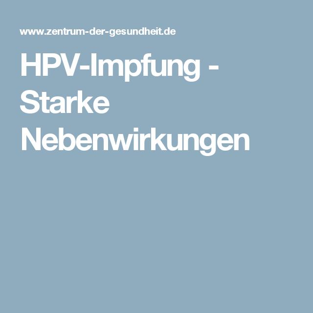 papillomavirus impfung nebenwirkungen